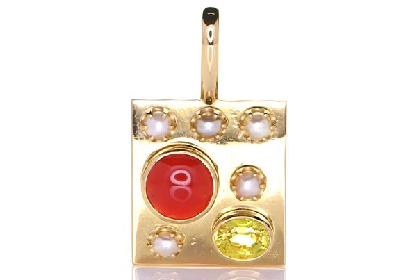 Golden Pendant With Five Real Salt Water Pearls, Yellow Sapphire And A Coral