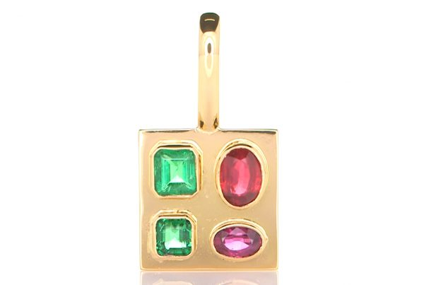 Golden Pendant With Two Green Emeralds And Two Rubies