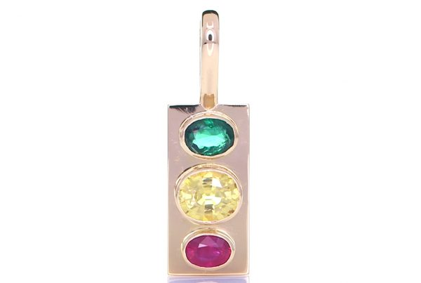 Golden Pendant With Yellow Sapphire, Ruby And A Green Sapphire