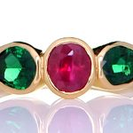 Golden Ring With Two Emeralds And A Ruby