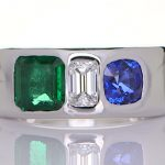 Platinum Ring With A Diamond, Green Sapphire And A Blue Sapphire