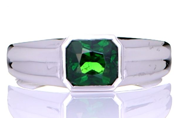 Platinum Ring With Green Emerald