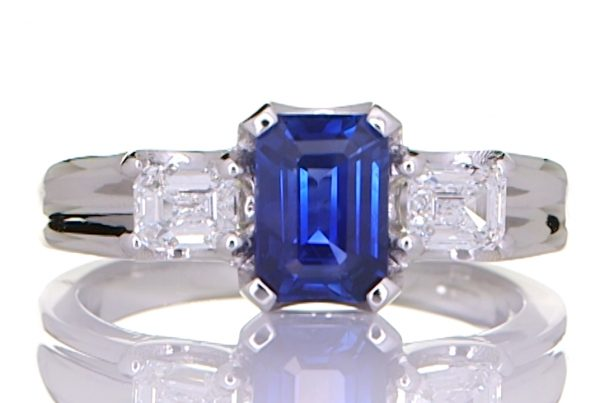Platinum Ring With Two Diamonds And A Blue Sapphire